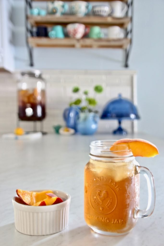 iced teas dispensers, HomeGoods dinnerware, open shelving ideas, wood and metal wall shelves, peach iced tea