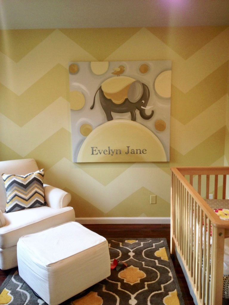 painting chevron stripes on walls, how to paint chevron stripes, baby nursery ideas