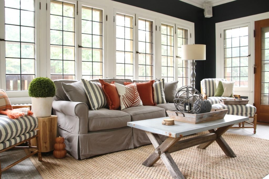 decorating with black, fall home decor ideas, pretty sunroom ideas