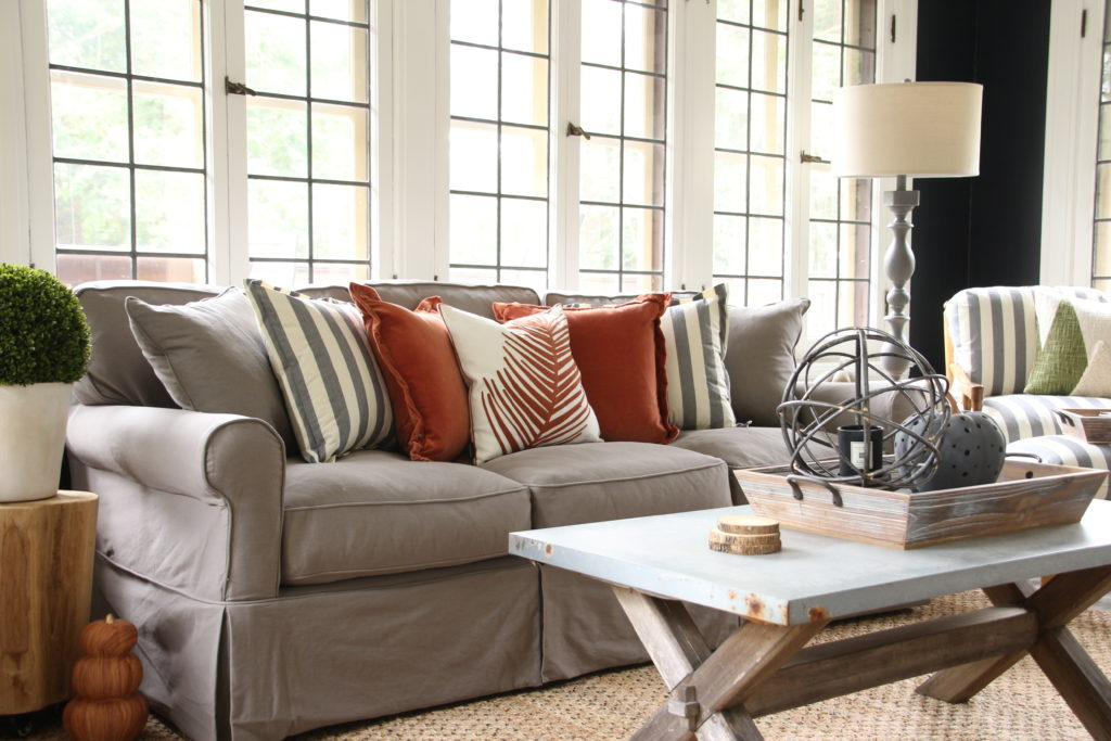 gray slipcovered sofas, fall decorating ideas