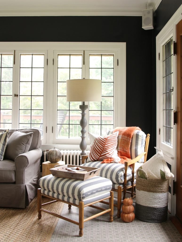 cozy chairs, striped fabric, fall decorating ideas