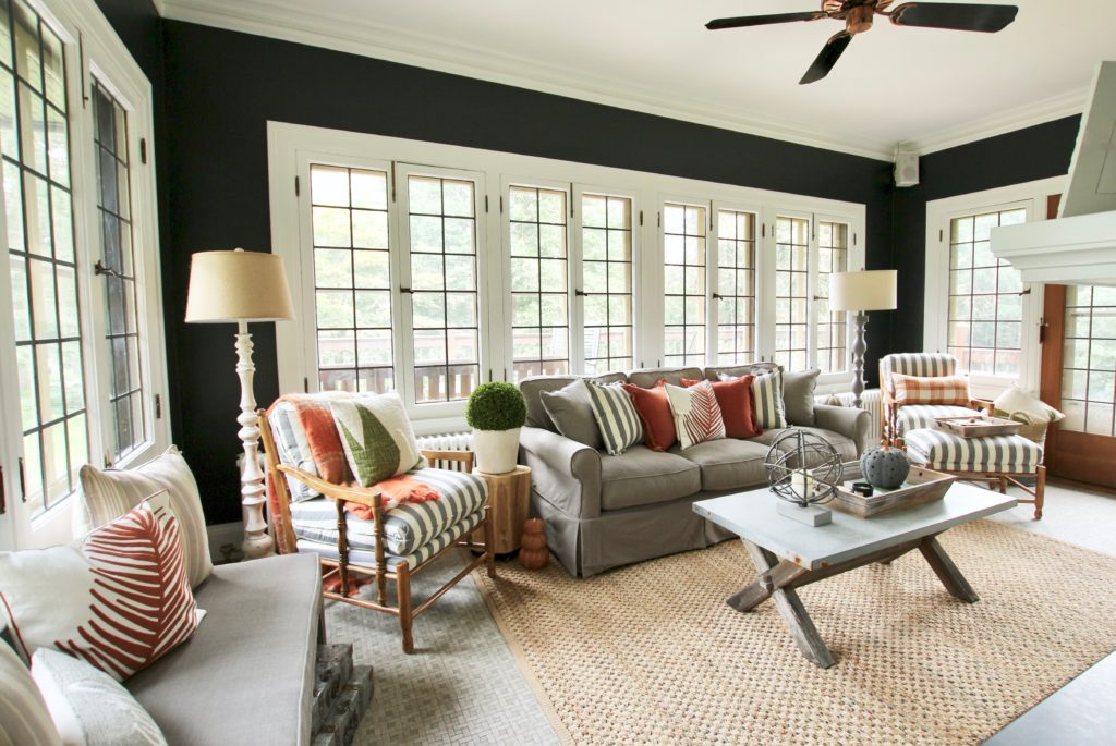 farmhouse style furniture, black walls, good black paint colors, raymour and flanigan sofas