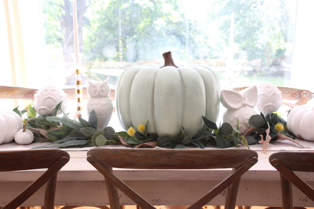 big pretty turquoise pumpkins Homegoods Fall decor