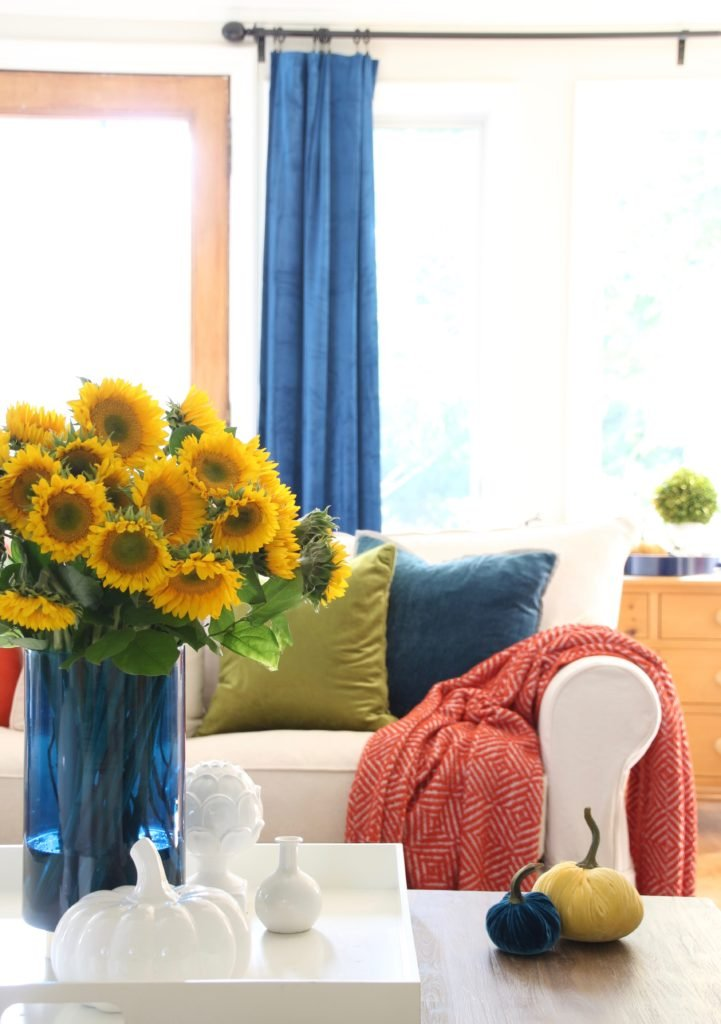 pretty blue vases, fall living room decorating ideas HomeGoods