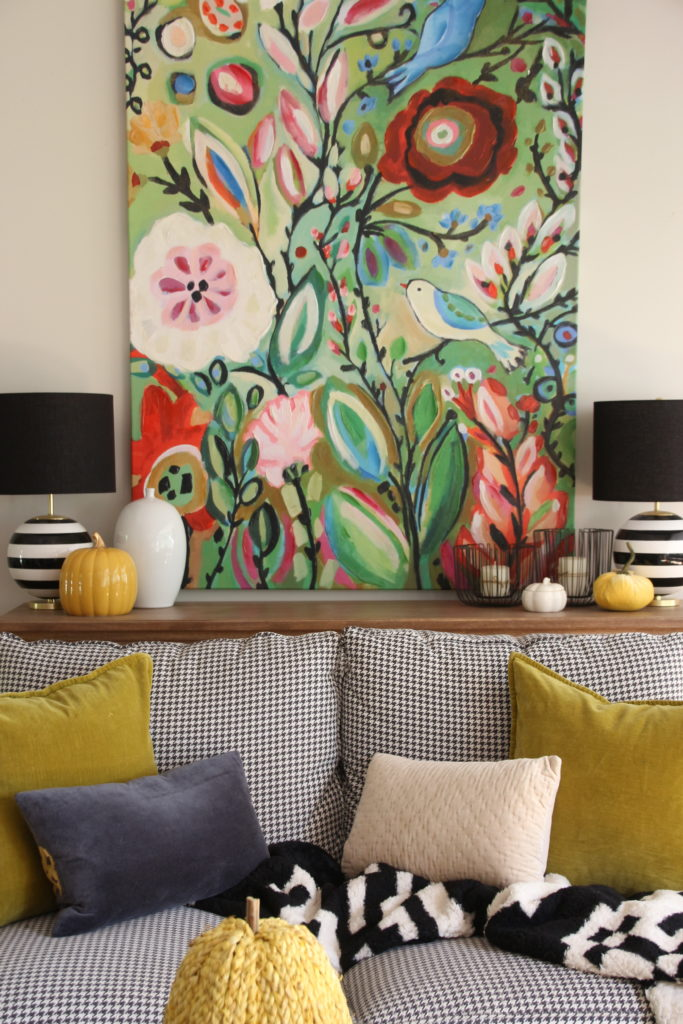 colorful Fall decorating ideas, chartreuse and yellow home decor