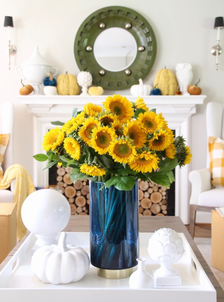 sunflower arrangements, decorating for fall with sunflowers, decorating for Fall