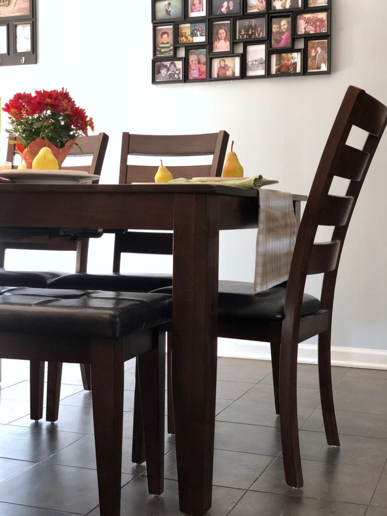 kona dining set, dark wood and leather dining sets