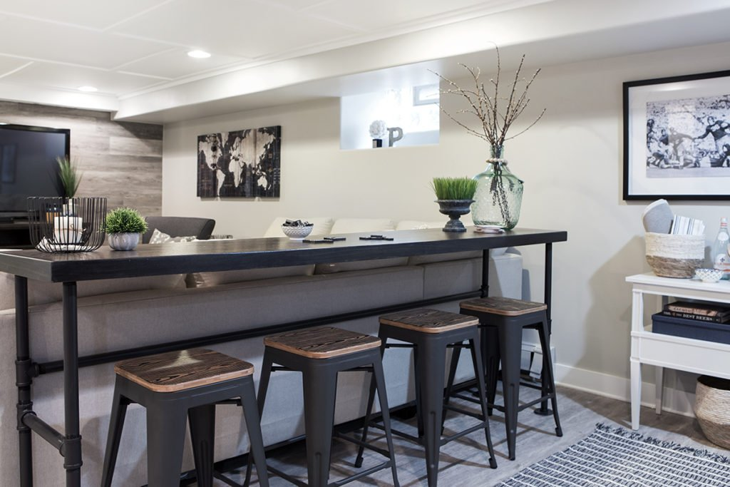custom bars, basement remodeling ideas, farmhouse style counter tables, narrow tables behind a sofa