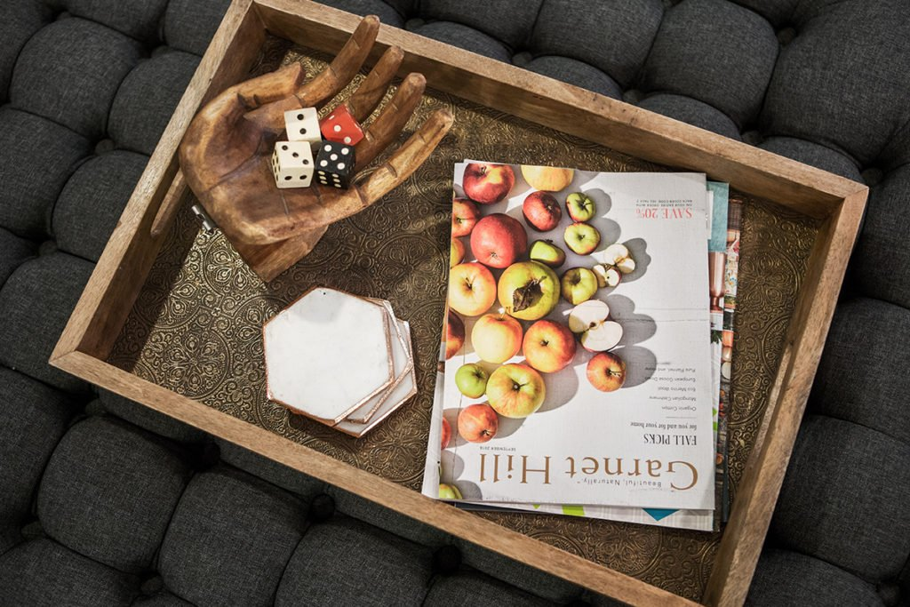 wooden trays are good for ottomans , storage ideas