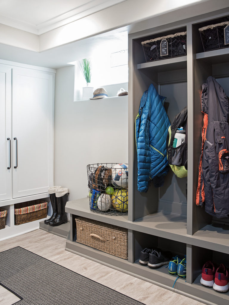 farmhouse style basement, cubbies ideas, gray painted lockers