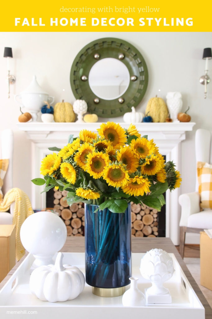how to use yellow in your home. decorating with sunflowers, buffalo check