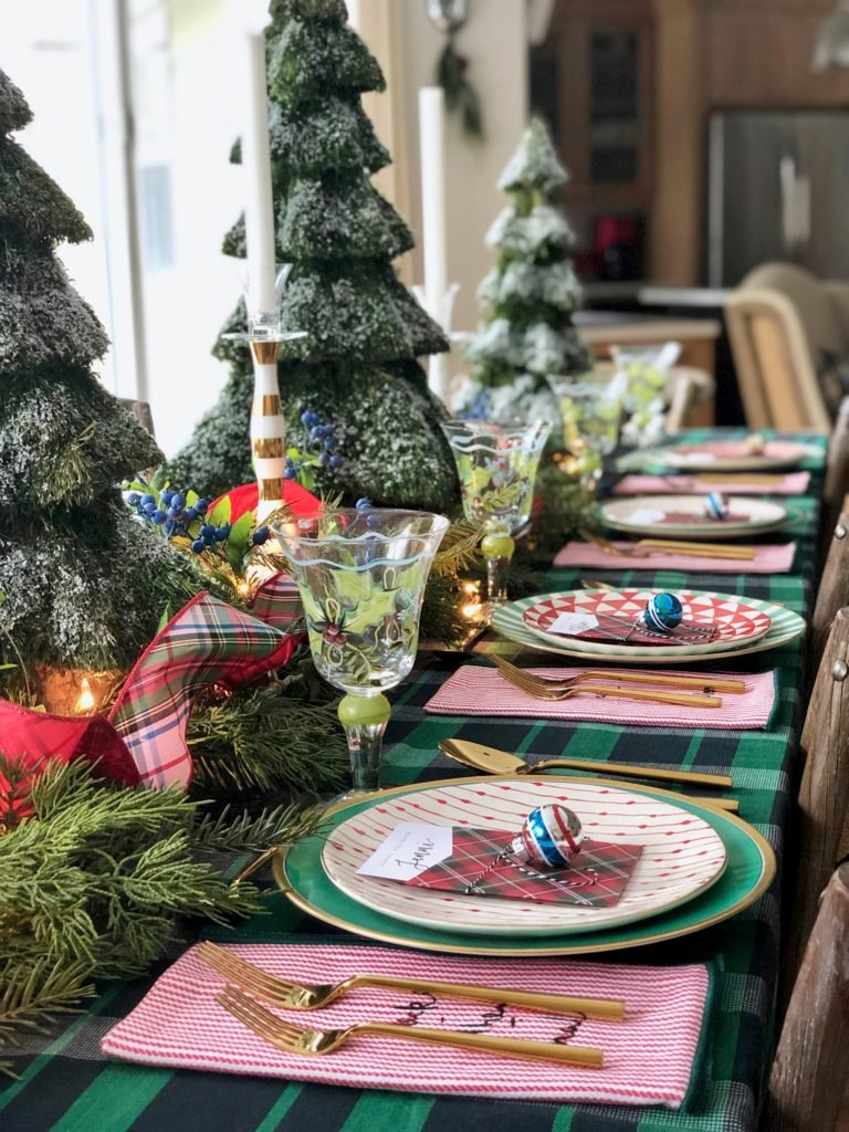 mix and match dinnerware for Christmas