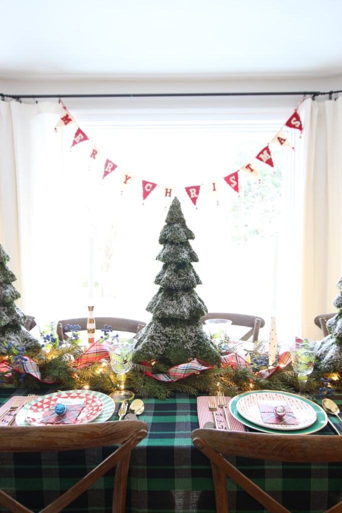 flocked faux christmas trees. Tree centerpieces