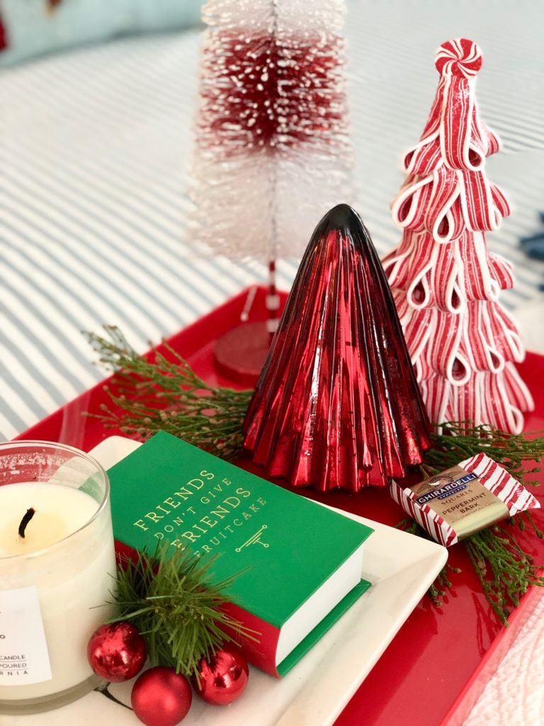 , luxury gift baskets, christmas decorating ideas, bedroom decor, plaid ottoman, mercury glass christmas trees, bottle brush trees, holiday candles