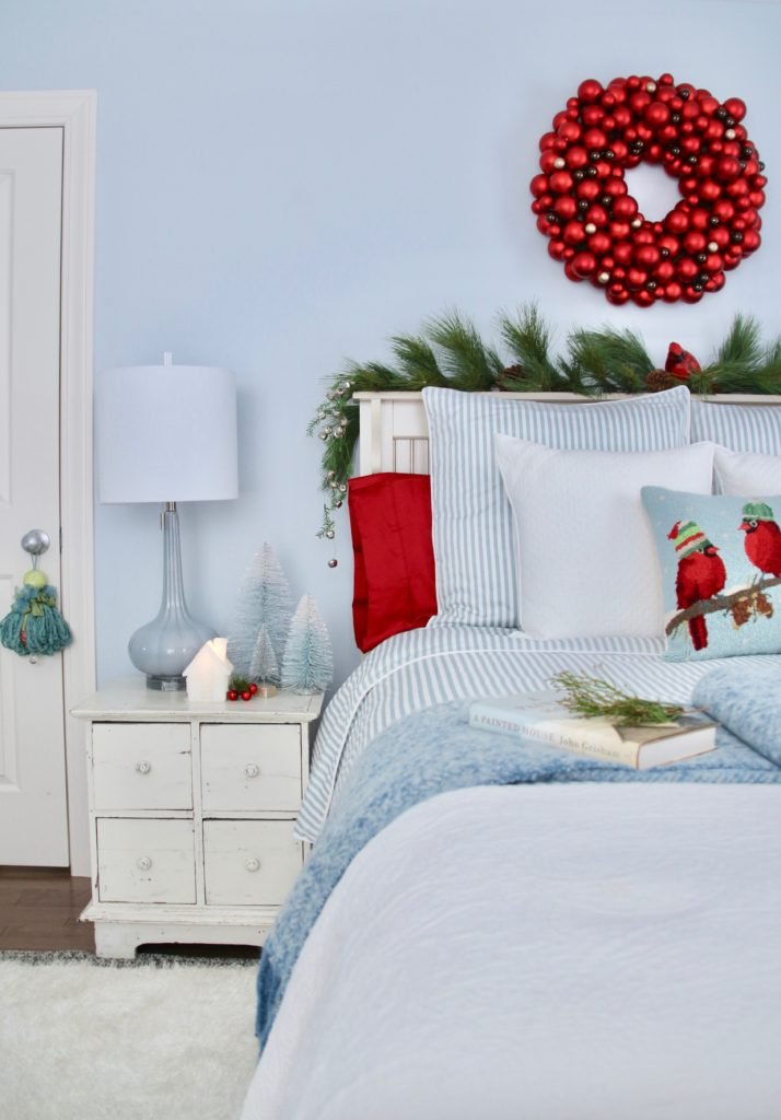 pretty light blue bedrooms, striped bed linens, white bedroom sets