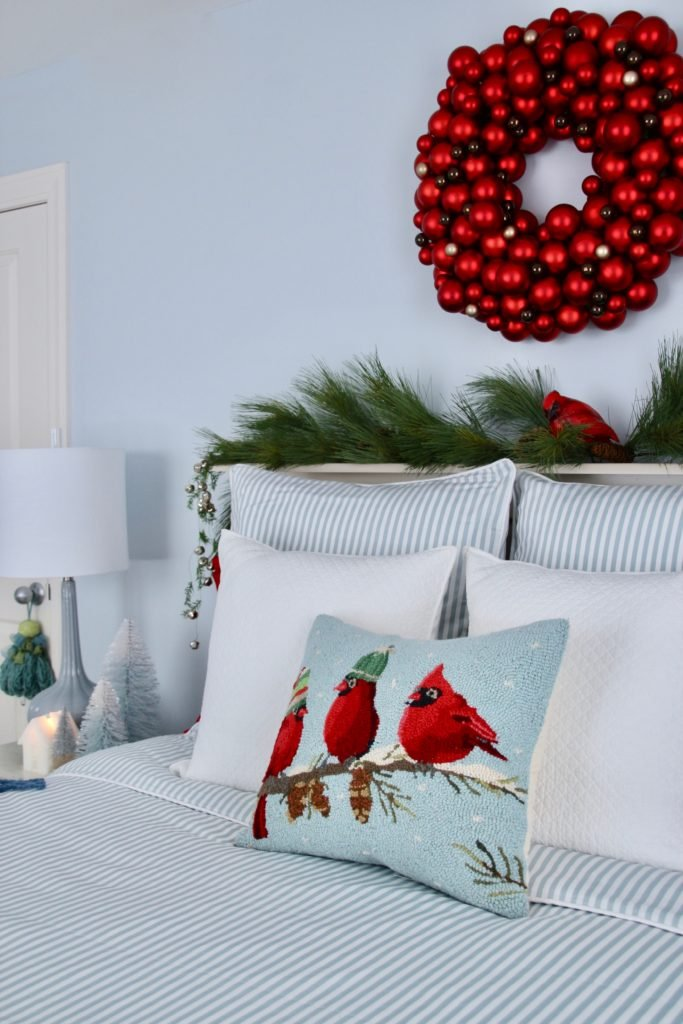 , luxury gift baskets, christmas decorating ideas, bedroom decor, plaid ottoman, needlepoint pillows, cardinal pillows