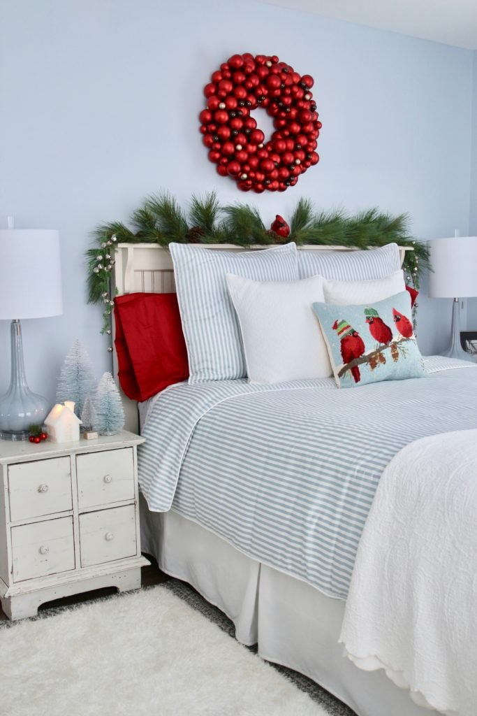guest bedroom ready for the holidays. pretty chrisoms bedrooms