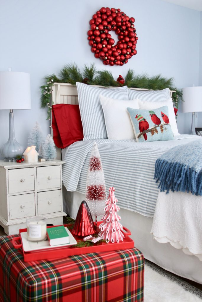 , luxury gift baskets, christmas decorating ideas, bedroom decor, plaid ottoman, mercury glass christmas trees, bottle brush trees, holiday candles, red and blue bedrooms