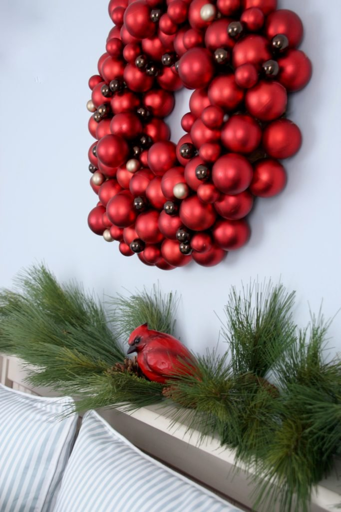glass bulb wreaths, red christmas wreaths