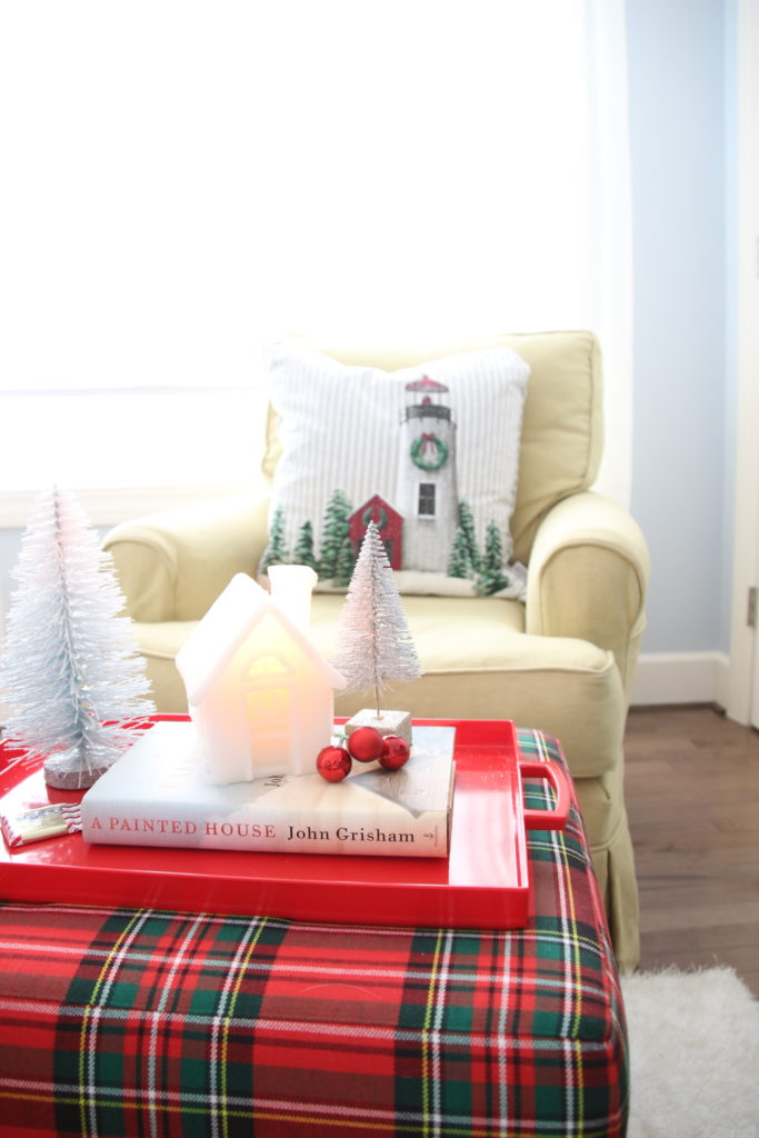 , luxury gift baskets, christmas decorating ideas, bedroom decor, plaid ottoman, tartan plaid furniture
