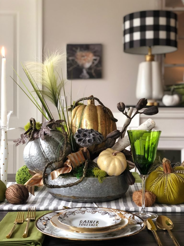 Fall and thanksgiving centerpiece, rustic table centerpieces