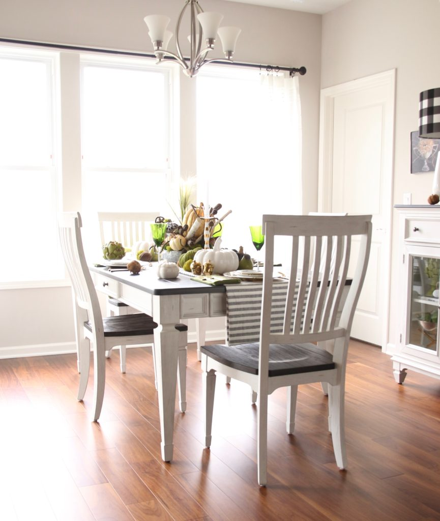 pretty white dining tables, kitchen tables white, casual thanksgiving