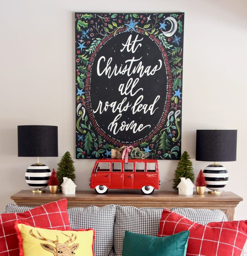 chalkboard art for christmas, at home for the holidays, christmas pillows cute, black and white lamps
