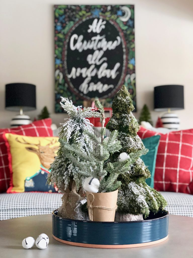small flocked christmas trees, mini bottle brush trees
