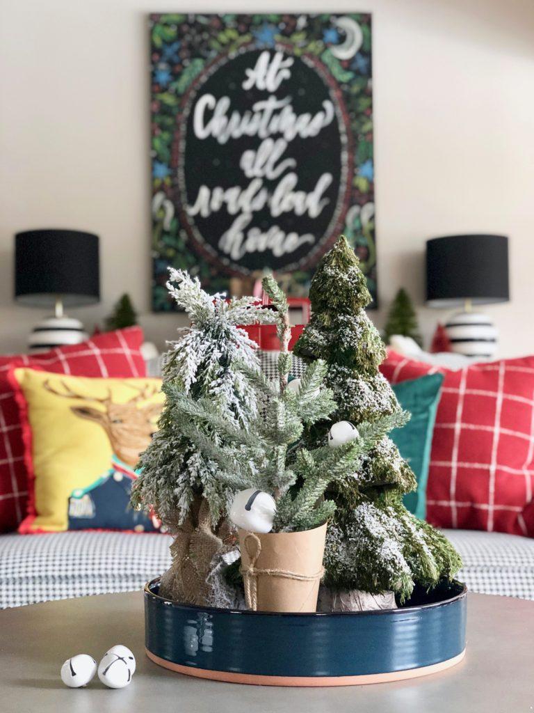 small flocked christmas trees, mini bottle brush trees