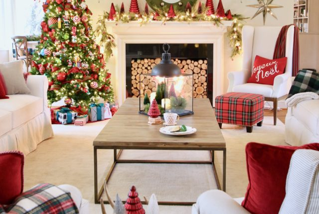 living room ideas for Christmas, old ladder with blankets, tartan blankets, pretty christmas trees