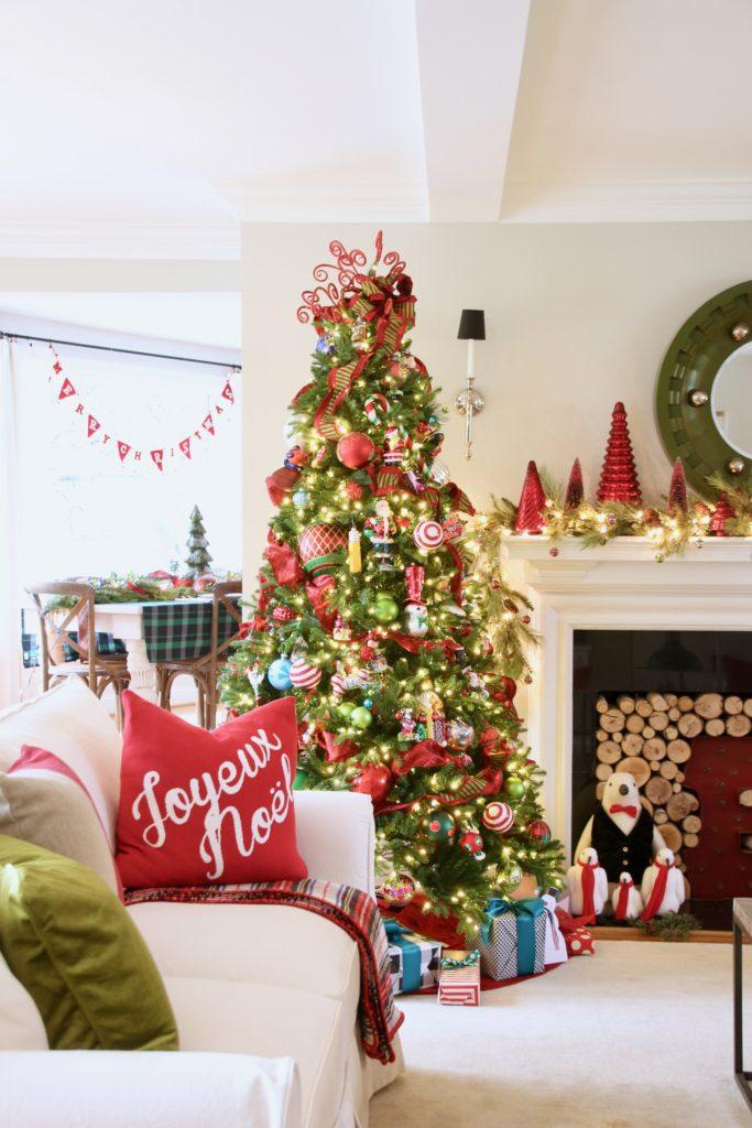 pretty living rooms, christmas decorating ideas, christopher radko ornaments