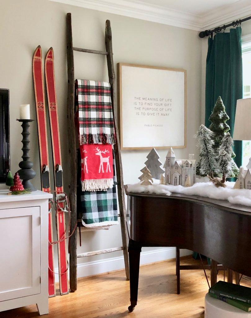 old ladder with blankets, tartan blankets, old vintage nordic skis