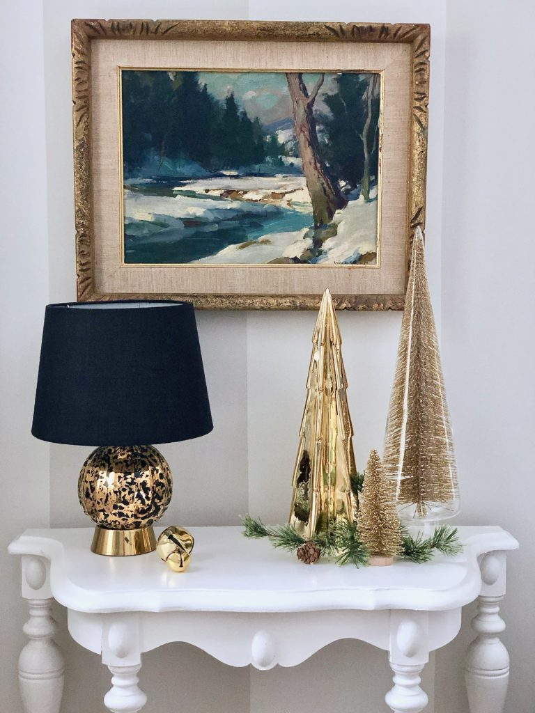 hanging artwork in your master bedroom, decorating ideas, christmas bedroom ideas, gold christmas trees, bottle brush trees, gold holiday decor