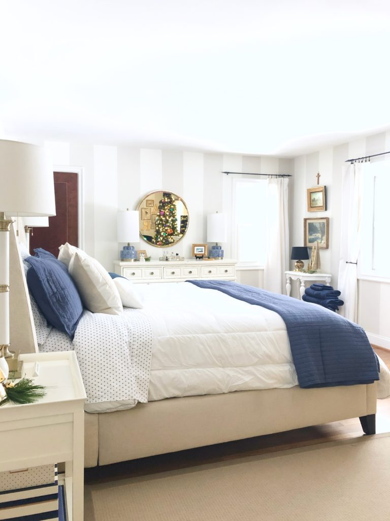 decorating your master bedroom, using navy in decor, gorgeous bedrooms, bedroom christmas trees, under the canopy bedding