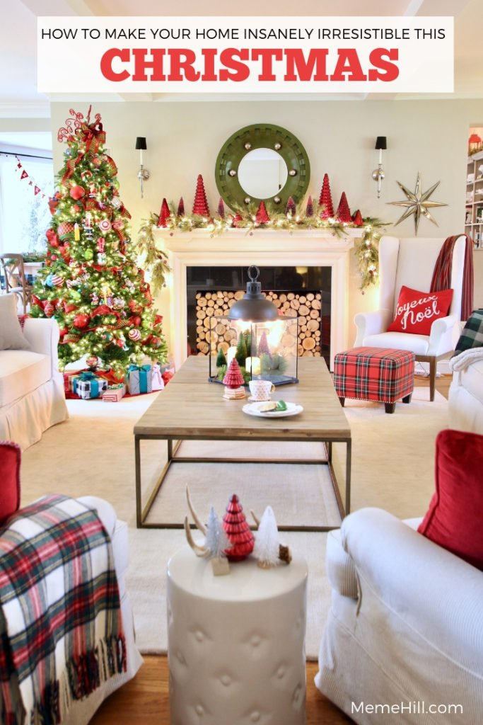 plaid christmas decor, decorating with red for Christmas, living room ideas, red Christmas decor