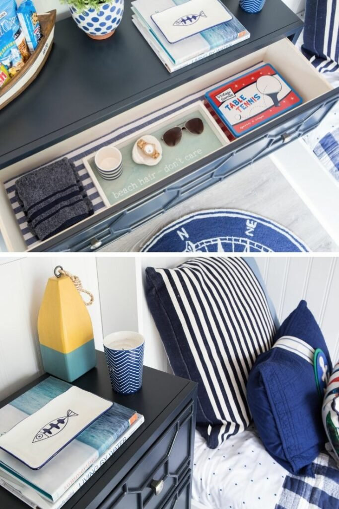 Im sharing how Is style this navy blue dresser and lined the drawers with scented drawer liner.