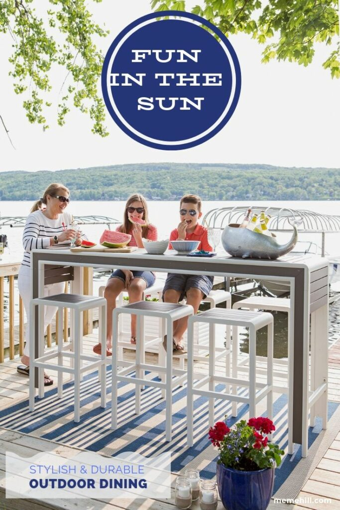 outdoor modern furniture, dining set, dock life gray outdoor furniture, bar height ding sets