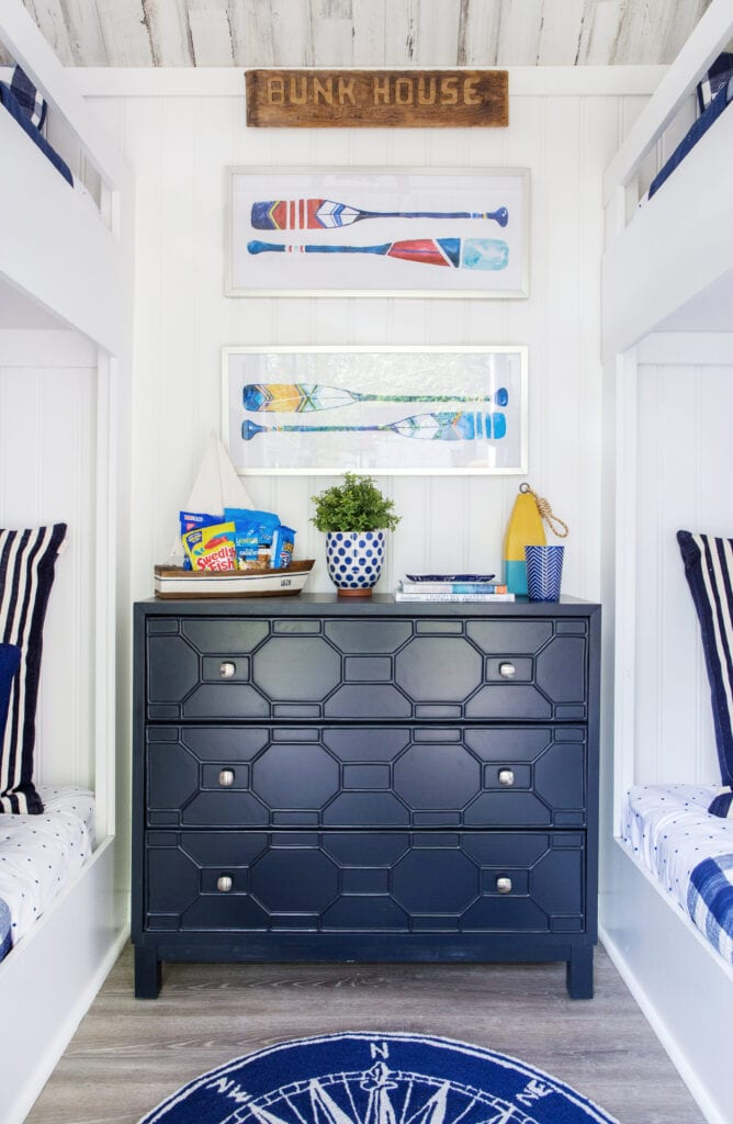 I love to style accent pieces and here is the prettiest navy blue dresser ready for our summer lake guests