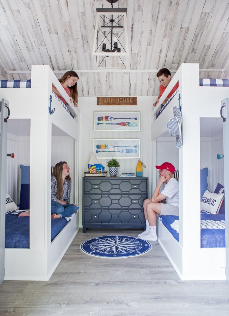 shed turned bunkhouse, she shed, backyards shed ideas,DIY bunkbeds, how to make bunkbeds