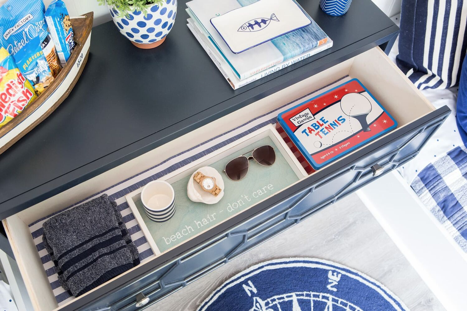 Don't forget all the little details when setting up a guest room down at the lake. Think about scented drawer liners and snacks and other incidentals.