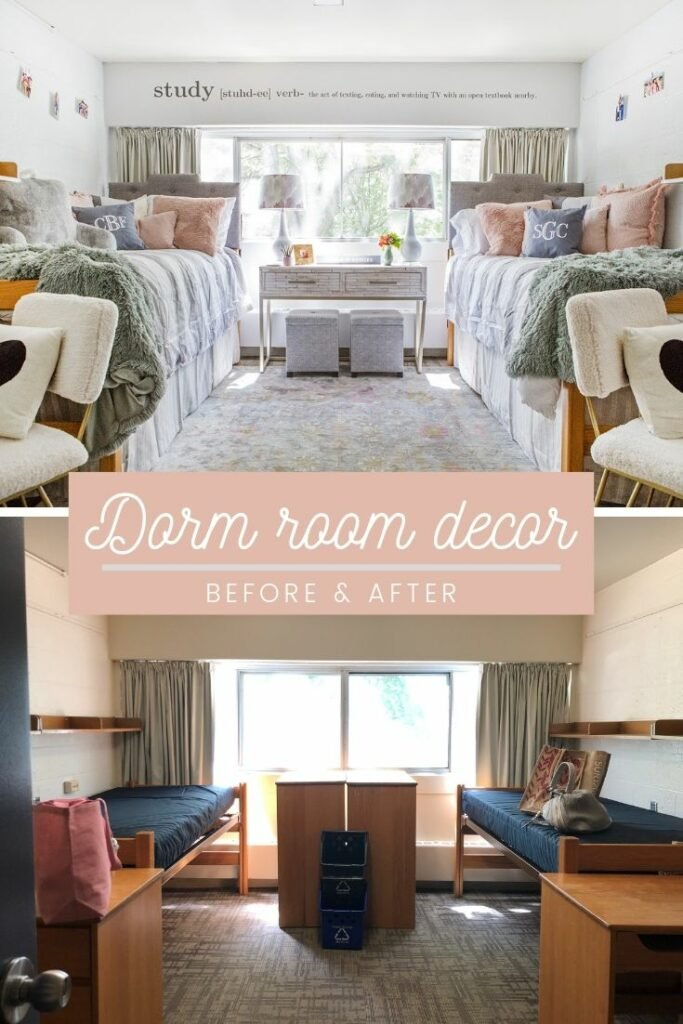 a freshman dorm room makeover with before and after pictures