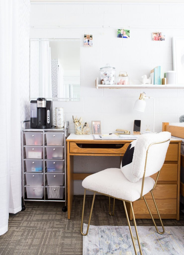 how to et up a college dorm room desk area with a coffee station and snacks
