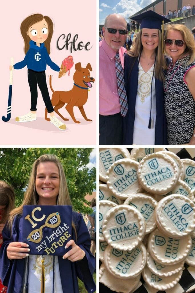 going from Pittsford Sutherland Hight School graduation to a freshman at Ithaca College , decorating a graduation cap and grad cookie ideas