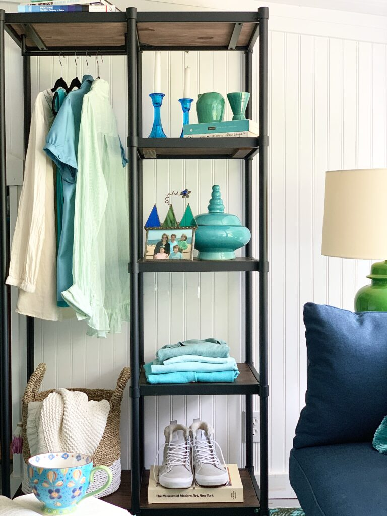 The Zinus Wesley Metal & Wood bookcase with hanging storage