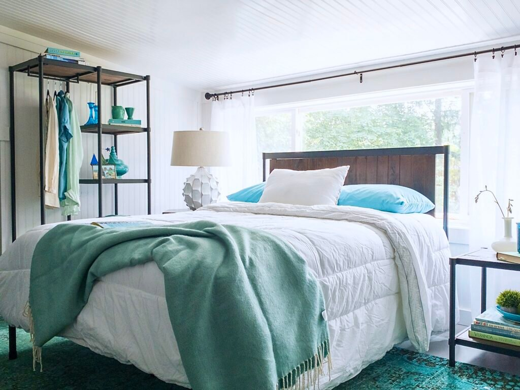 guest room makeover with industrial modern furniture from Zinus.