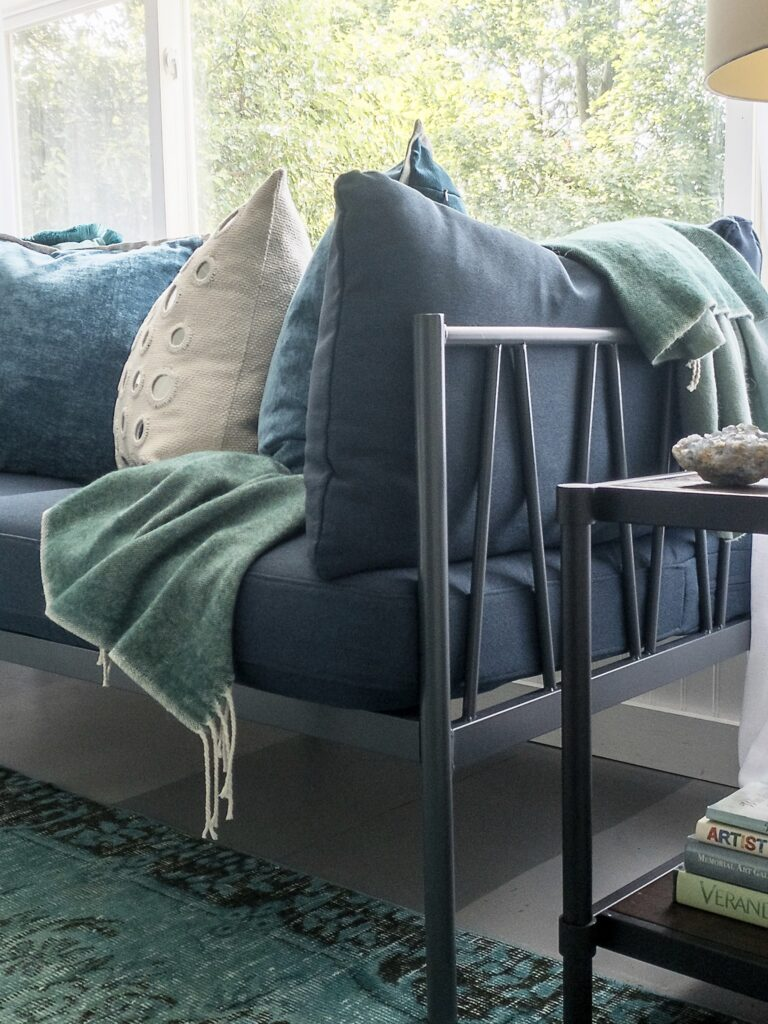 affordable industrial modern daybed with navy blue performance fabric.