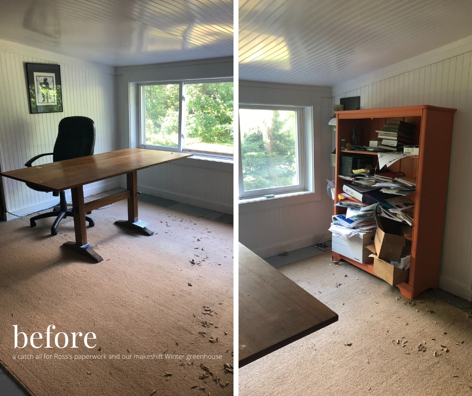 before picture of an attic home office with a wood desk and dirty rug
