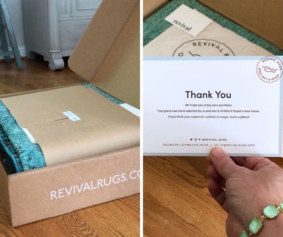 a thank you note from Revival rugs thanking me for purchasing this one of a kind handmade turkish rug