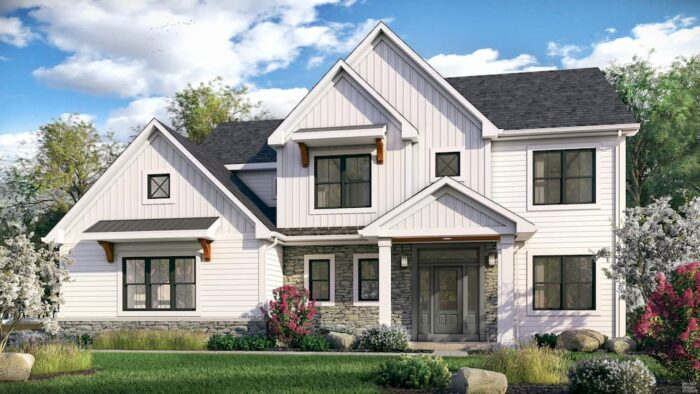 Modern white farmhouse with black exterior windows and black metal roof, Morrell Builders