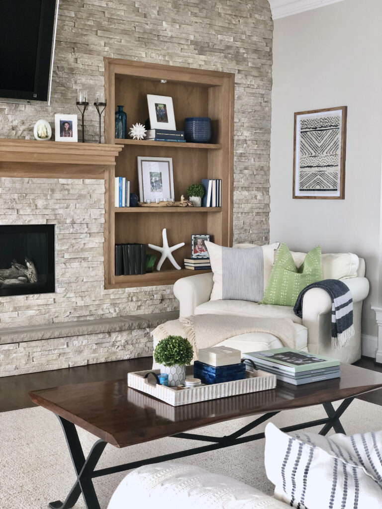 creating a cozy corner, coffee table styling, live edge coffee tables